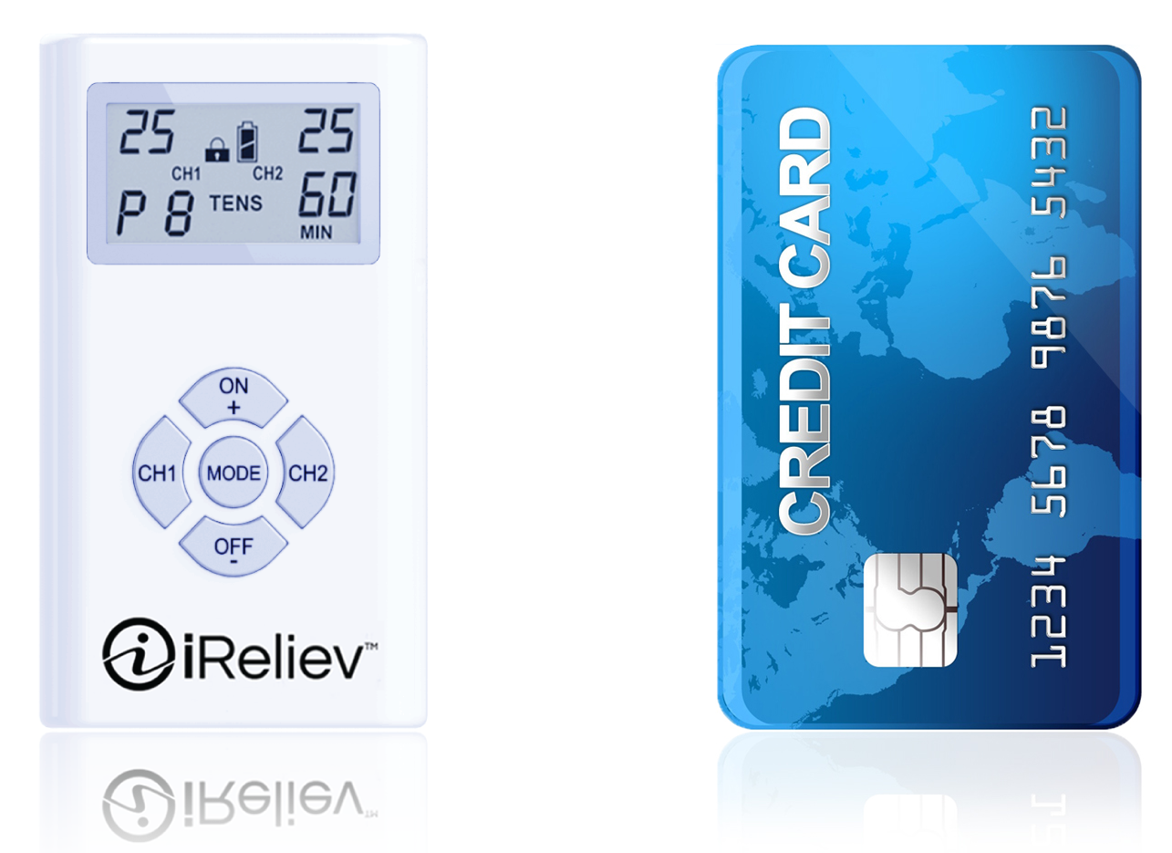 ireliev tens unit for back pain similar size to a credit card