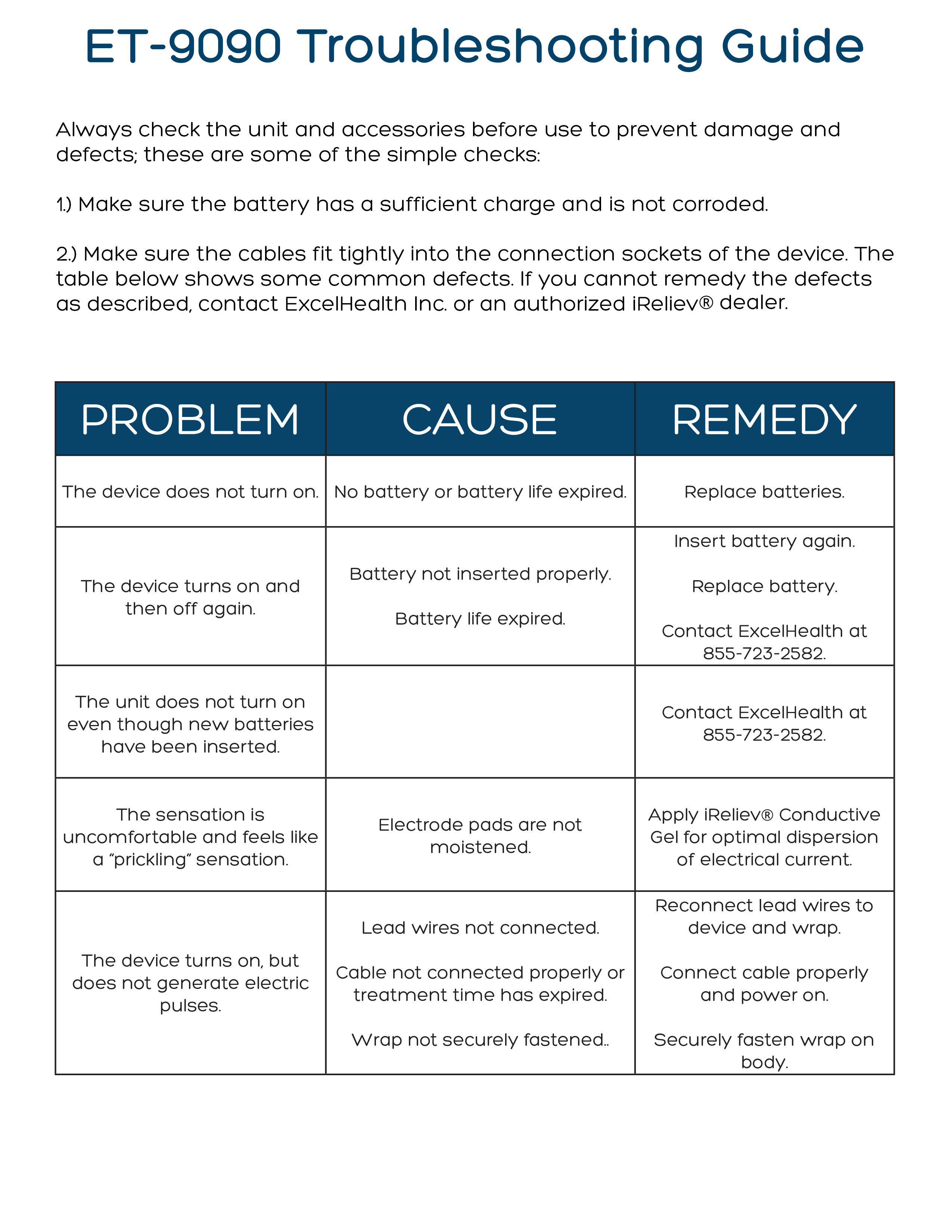 ET-9090 Back Pain Relief System TENS Unit Troubleshoot Guide