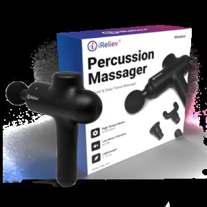 iReliev massager. massage away tension, increase blood flow, iReliev Massage Gun